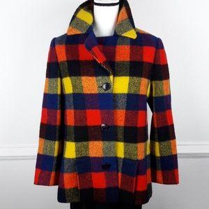 Jackets & Blazers - WOOL MULTICOLOR CHECK PRINT COAT SIZE L